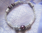 Viking knit purple silver jewelry - wire  bangle bracelet in silver and purple beads
