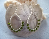 Oval  hoop wire wrapped  earring in silver and peridot green swarovski