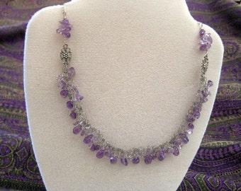Wire knit amethyst silver necklace- lacy wire knit jewelry, elegant upscale jewelry, luxary jewelery, valentine jewelry