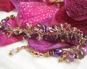 SALE - 14k Gold Filled, amethyst, garnet, ametrine, whiskey quartz luxe gemstone cluster bracelet - The VANDA Bracelet