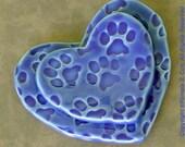 Paw Print Heart Shape Trinket Plates set of 2