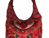 Vintage hippy ethnic handbag with embroidered roses messenger bike bag purse