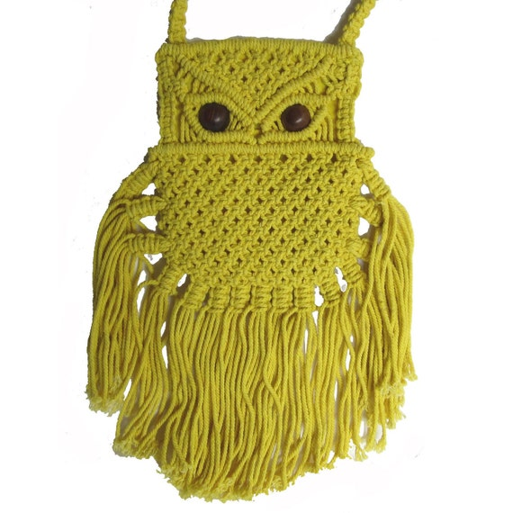 Vintage Macrame 70's Neon Yellow Owl fringe crossbody purse iphone bag