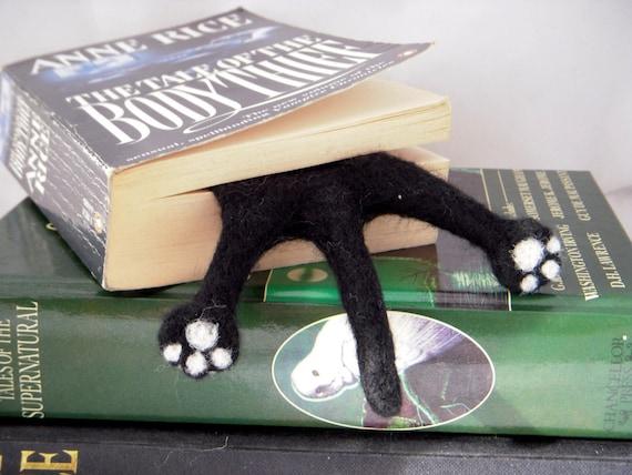 Cat Bookmark - Black Needle Felted Kitty Half Splat bookmark #Etsygifts