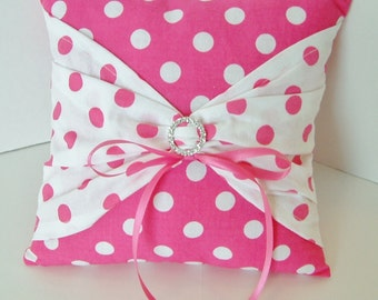 Hot Pink and White Polka Dot Ring Bearer Pillow Ribbion Ties Sparkle Bling Boy Girl
