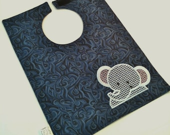 Embroidered Blue Baby Grey Elephant Baby Bib 6 to 12 months Boy Girl Jungle Animal Big Shower Gift Washable Velcro