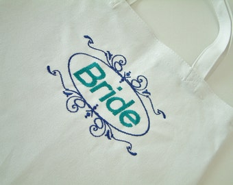 Embroidered Bride White Canvas Tote In Purple & Teal or Your Color