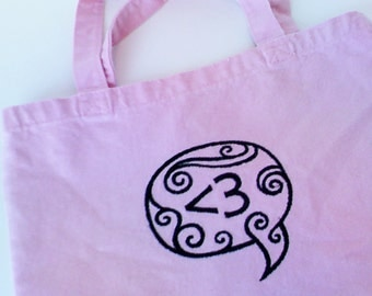 Text Love Heart Pink Canvas Embroidered Tote Teen Tween Girl Gift Washable Valentine's Day Pink Black