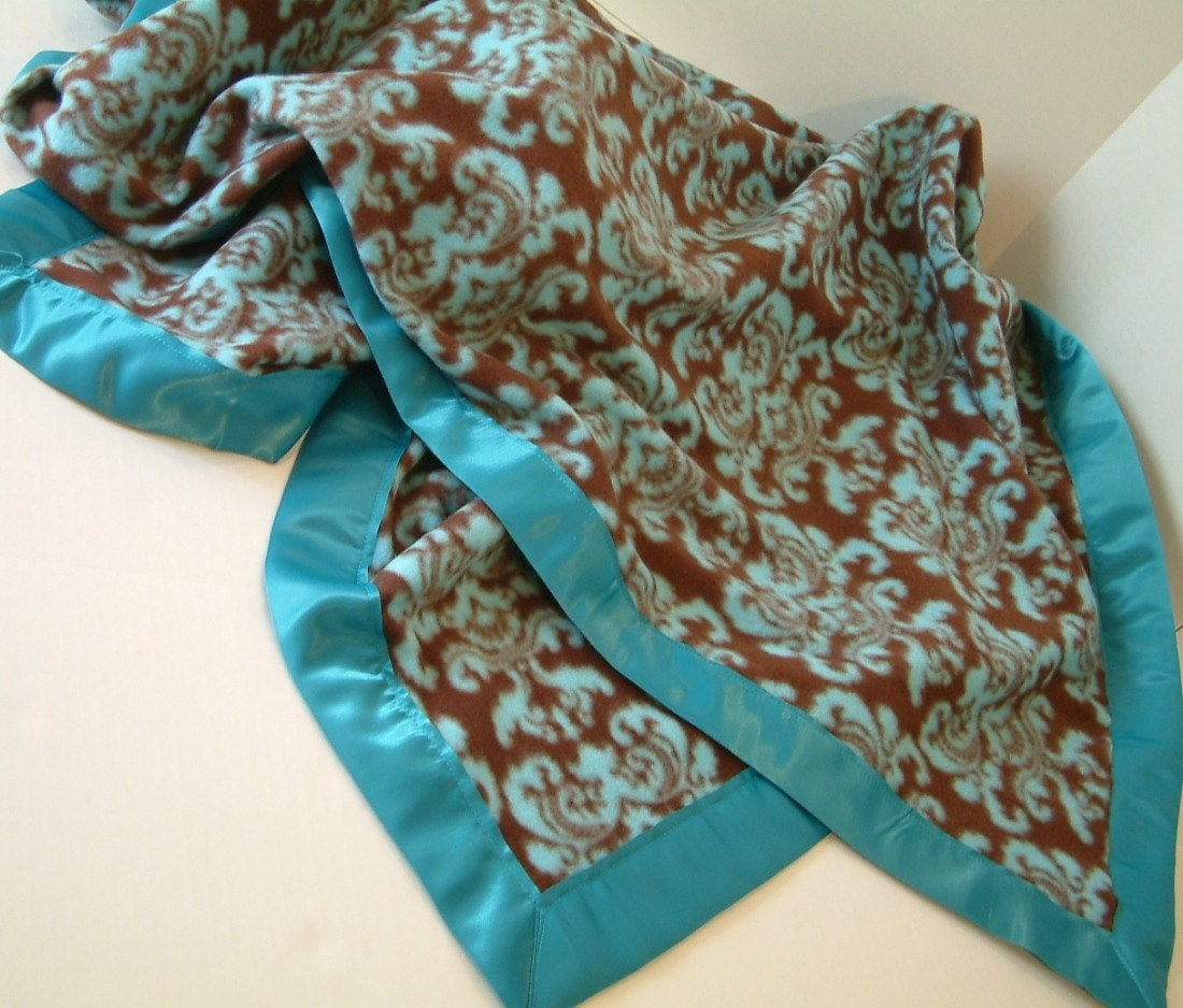 brown and turquoise damask print fleece blanket throw by