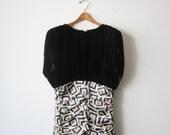 1960s Neiman Marcus Black Velvet Geometric Dress