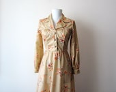 1970s Flared Shirt Dress Size Extra Small to Small