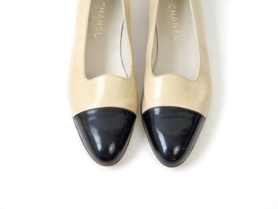 Vintage Chanel Two Tone Flat Shoes