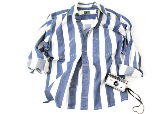 Vintage Liz Wear Striped White Denim Shirt Size Medium
