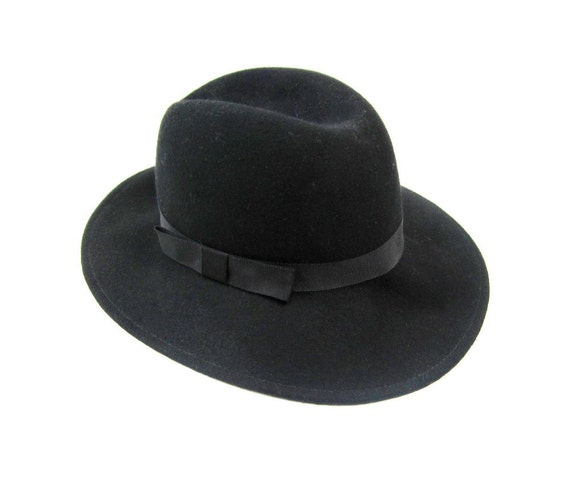 1970s Arlin Black Wool Fedora Hat with Bow Tie