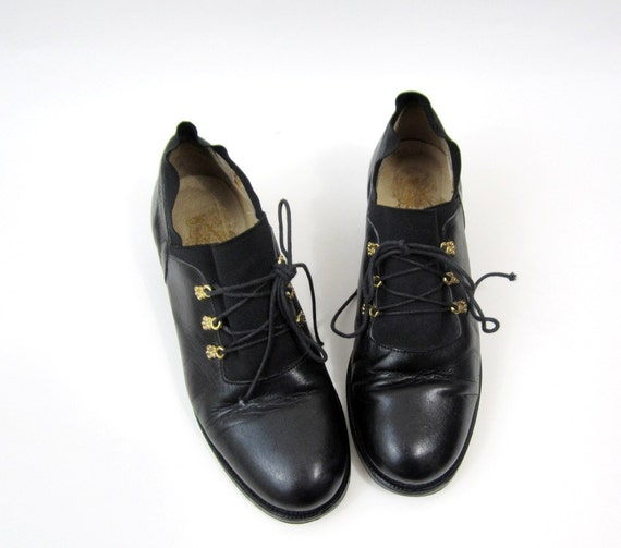 1980s Military Black Oxford Pumps Size 7