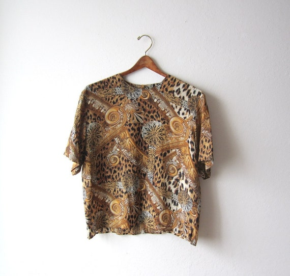 Vintage Sheer Baroque Leopard Blouse Size Medium