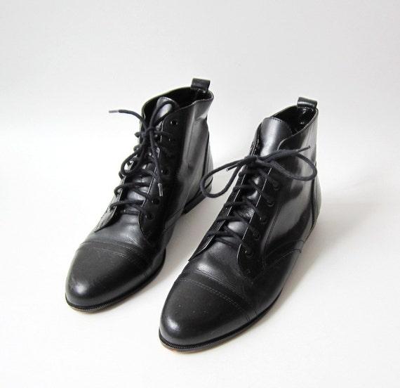 Vintage Calico Black Granny Oxfords Boots Size 8