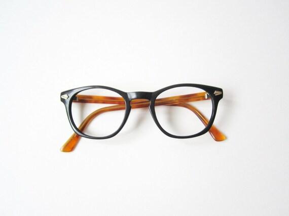 1960s Black Tortoiseshell Wayfarer Eyeglasses Frames