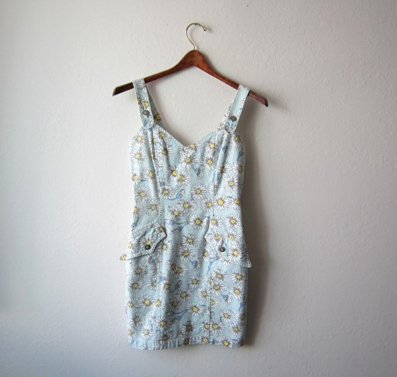 SUMMER SALE - Vintage Guess Pale Blue Floral Overalls Size Extra Small