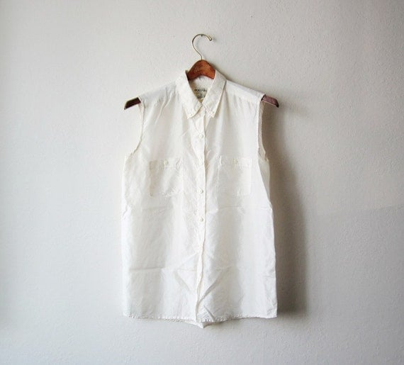 Vintage Sheer Ivory Sleeveless Button Down Shirt Size Small