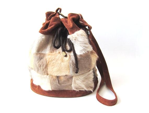 1970s Boho Fur Drawstring Cross Body Bag