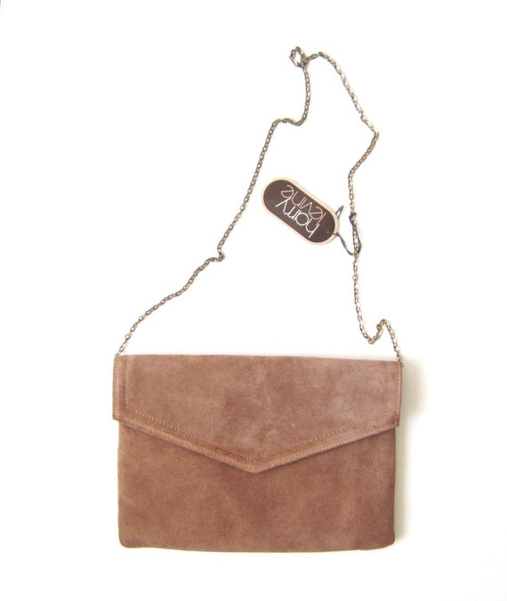 NOS Tan Suede Clutch Bag