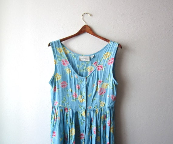 1990s Powder Blue Roses Button Down Dress Size Medium to Large
