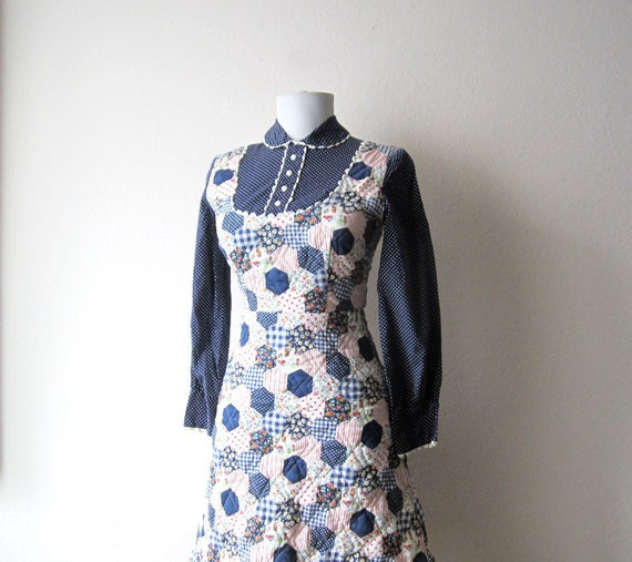 Vintage 1960s Peter Pan Collar House Dress Size Extra Small