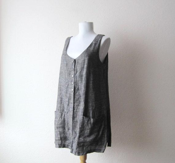 1990s Linen Button Down Tunic Top Size Medium