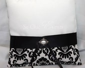 Ivory Satin and Black/Cream Damask Ring Bearer Pillow