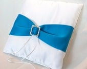 White Satin & Turquoise Ring Bearer Pillow