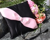 Black Satin Ring Bearer Pillow with Pale Pink Satin Sash