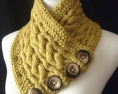 The REVERSIBLE Cabled Neckwarmer / In LEMONGRASS Green / UNISEX /Last ONE In This COLOR