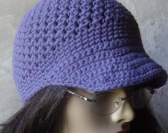Brimmed Beanie/ Newsboy Hat - GRAPE DENIM