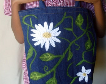All About Daisies And Vines / Hand Painted Denim Art Bag w/Crocheted Daisies