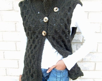 The Textured Cabled Open Vest  With Matching Hat / ORIGINAL DESIGN COLLECTION - On Sale Now