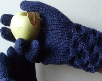 Hand Knit Cabled Cuff Gloves for MEN / Larger Sized/ Navy Blue