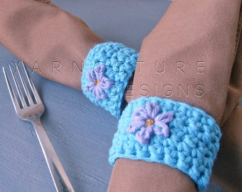 Springtime Napkin Rings - With Hand Embroidered Flowers - Hand Crocheted Napkin Rings