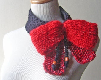BIG..RED..BOW.. Fiber Art Scarf /On Sale Now