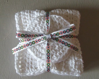 Crocheted Spa Facial Washcloth And Scrubbie Set  LUXE COLLECTION