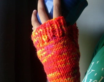 HELLO SUNSHINE - Fingerless Gloves / Larger Sized  - In Orange, Yellow, Red and Magenta