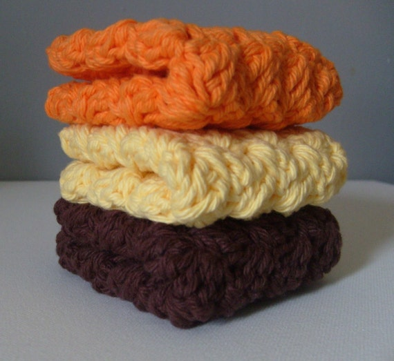 Every Day Luxury Washcloths In EARTHY / WARM Colors - Hand Crocheted