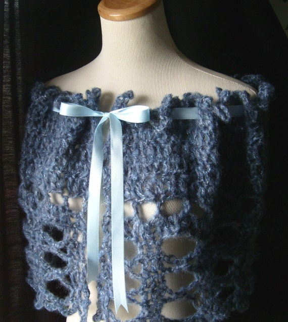 The Victorian Lace Capelet / In Denim Blue / Easy Care /Romantic / Bed Jacket
