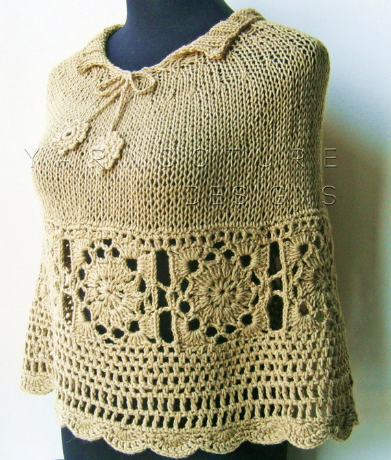 The Granny Square Knit Poncho / Capelet by yarncoture on Etsy