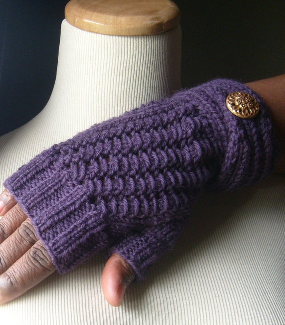 Contempo Elegant Lace Knit Fingerless Gloves/Mitts - IN Deep EGGPLANT