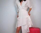 Vintage 80s AVANT GARDE white BOHO dolman sleeve asymmetrical hem dress FABULOUS