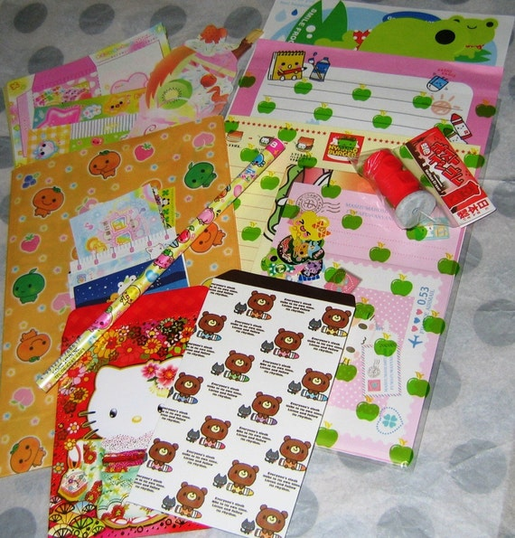 Cute Japanese Stationery Pack No. 15 - Very Kawaii - 100 Pieces - Memo Sheets, Letter Sets, Stickers, Envelopes, and More
