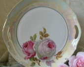 Z.S.and Co. Beautiful Roses Pink and White Vintage Round Cake Plate Platter