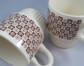 Brown Retro Flower  Vintage Mugs Set of 2  TOPC113