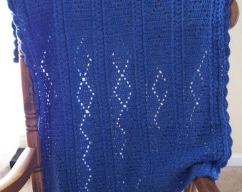 Royal Blue Baby Blanket Timeless Crochet Afghan Diamonds Lapghan Baby Shower Gift Baby Boy Gift